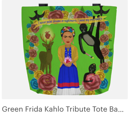 Click on link to view item on Etsy - https://www.etsy.com/listing/570334272/green-frida-kahlo-tribute-tote-bag-with?ref=shop_home_active_2