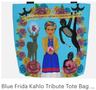 Click on link to view item on Etsy - https://www.etsy.com/listing/583828011/blue-frida-kahlo-tribute-tote-bag-with?ref=shop_home_active_4