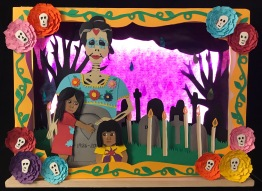 Day of the Dead Light Box - View 90 Day Art Challenge Blog for more pictures of the process